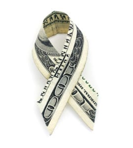 Isolated hundred dollar cancer ribbon on a white background.